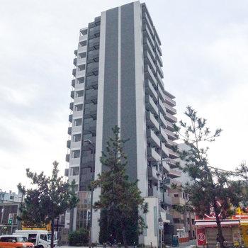 大通りに面したマンションです。ちょうど周りに高い建物がありません。