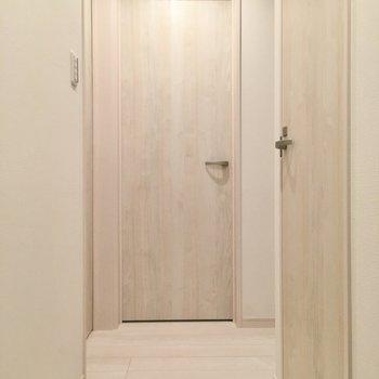 右がトイレのドア、左がサニタリーです。