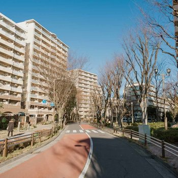 芦花公園駅南口には、整備された美しく緑豊かな街並みが広がっています