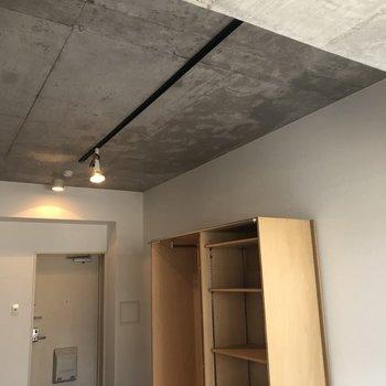 天井のコンクリートとスポットライトが出会ってしましました…!