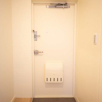 玄関はこちら。シューズクローゼットはご自分で好きなものをご用意ください。