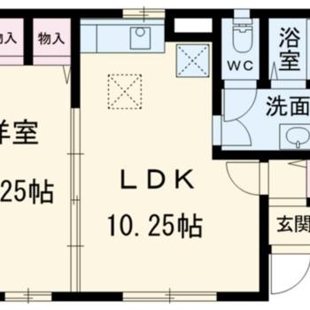 縦長の部屋が2つある、1LDKです。
