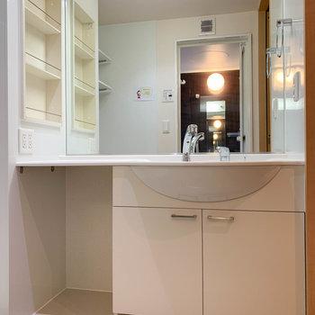 洗面台も鏡の大きいタイプ。コンセントが4口あるのもポイント。