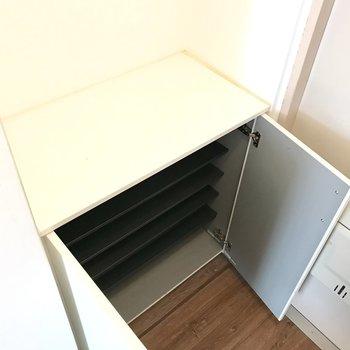 シューズBOXは小さめ。上に雑貨を飾れますよ◎(※写真は6階の同間取り別部屋、補修前のものです)