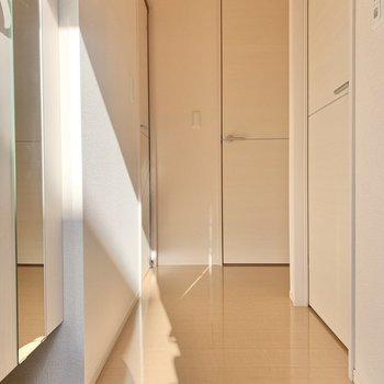 脱衣所は玄関の正面です
