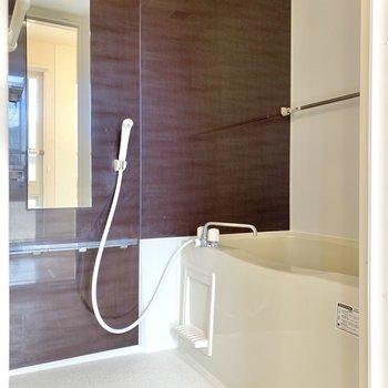 浴室乾燥用のハンガーポールが上下に掛けられるのはいいですね。