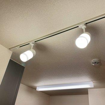 【ディテール】2つの照明がLDKを優しくてらしています。