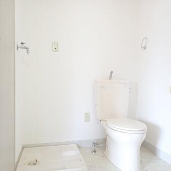 トイレと洗濯機も同じ空間です。