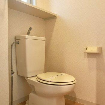 洗面台のお隣にトイレ。いつでも綺麗にしておきたい。(※写真は2階の同間取り別部屋のものです)