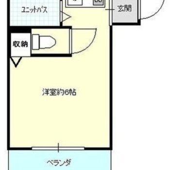シンプルでコンパクトな1Kのお部屋です。