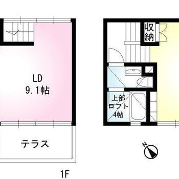 こちらのお部屋はメゾネットタイプです。