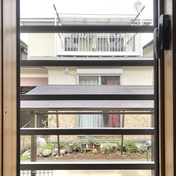 【キッチン眺望】ご近所さんがみえました。窓は磨りガラスになっていますよ。