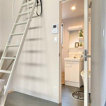 はしご横の扉はサニタリールーム。(※写真の小物は見本です)