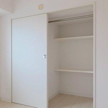 収納はこちらのみ。奥行きがあるのでケースも使いたい。(※写真は7階の同間取り別部屋のものです)