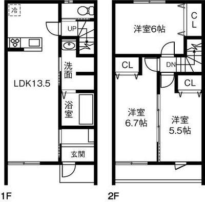 (仮)稲沢市小沢一丁目借家Ⅱ の間取り