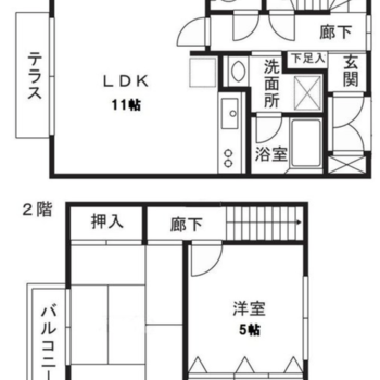 2LDKのメゾネットタイプのお部屋です。