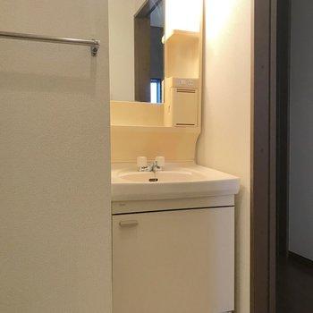 整髪剤や歯磨き粉など、朝の準備に欠かせない小物を置ける棚も設置されています。
