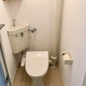 トイレはウォシュレット付き。上のちょこんとした棚にはお花を飾ろう