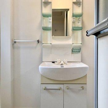 洗面台は少しコンパクト。歯ブラシ入れもありますよ