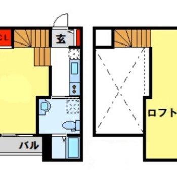メゾネットタイプのお部屋です(※間取り図は準備中です。実際の間取りは窓側にロフトへの階段がございます)