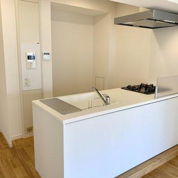 お待ちかねのキッチンは大きい冷蔵庫や調理家電、食器棚を置くスペースも