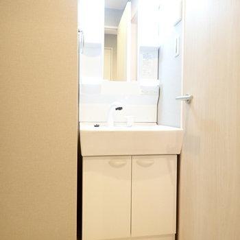 洗面台はすっぽりハマッています。