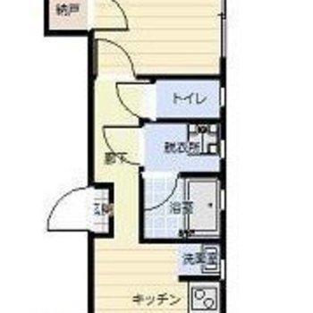 廊下を挟んで2部屋ある間取りです。