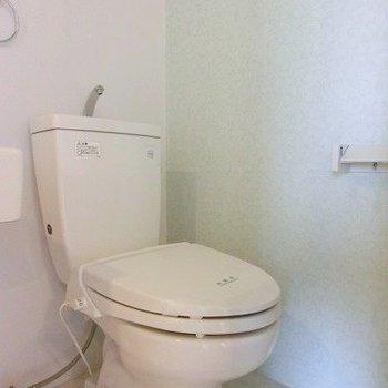 トイレットペーパーだってガラス張り。(※写真は4階の同間取り別部屋のものです)