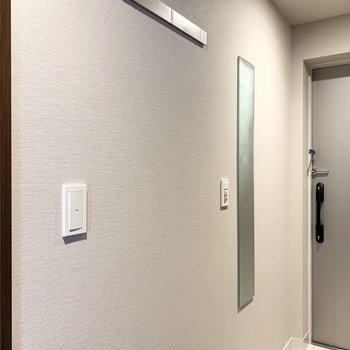 全身鏡とフックが付いています。※写真は8階の同間取り別部屋のものです