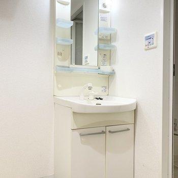 鏡の横には歯ブラシや洗顔料が置けます。※クリーニング前の写真です