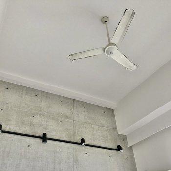 シーリングファンにお洒落に並ぶブラックライト。お部屋のお気に入りを照らしたい。(※写真は清掃前です)