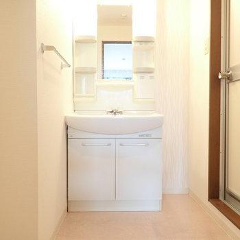 洗面台はゆったりめ!脱衣所自体がゆったりめ。