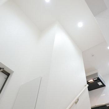 なんたる天井の高さ…!ワクワクする玄関っていいですね。(※写真は1階の同間取り別部屋のものです)