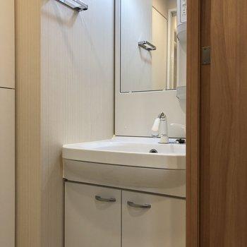 鏡の奥にも収納スペースが。