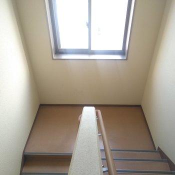 共用部分の階段には窓がついていてあかるーい