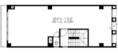 恵比寿 19.4坪 オフィスの間取り図