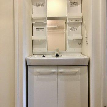 独立洗面台なので、支度もスムーズ※写真は1階の同間取り別部屋のものです