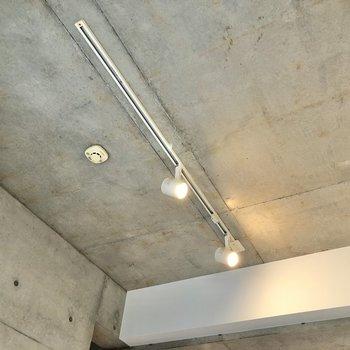 【1階】天井にはスポットライトが輝いていました。