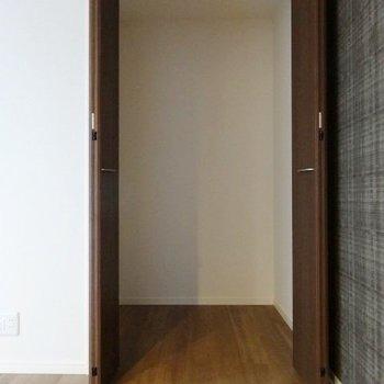 クローゼットは奥行きあり。何もないので掃除機置いたり、縦型のポールハンガーつけてもいいかも!(※写真は2階の同間取り別部屋のものです