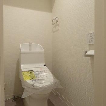 ウォシュレット付きのトイレも、ピカピカ!(※写真は2階の同間取り別部屋のものです)