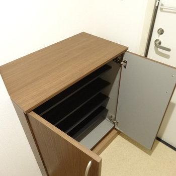 シューズボックスは1人分の収納にぴったりのサイズ。(※写真は2階の同間取り別部屋のものです)