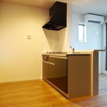 キッチン後ろにもたっぷりスペース。冷蔵庫も食器棚も置けそう。(※写真は2階の同間取り別部屋のものです)
