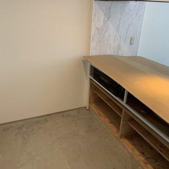キッチンスペースもゆとりあります。※建築中のお部屋です