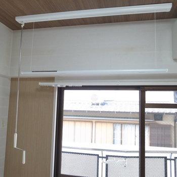 室内干しの設備だってあります!普段レバーは壁にかけて置いておけます。