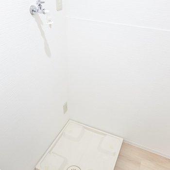 左を向くと洗濯機置場。冷蔵庫置場は無いので玄関や洋室に。