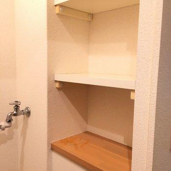 可愛らしい棚〜洗剤とか洗濯ネットが置けるね(※写真は8階の同間取り別部屋のものです)
