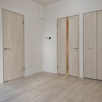 左がサニタリー、右がキッチン・玄関へのドアです。