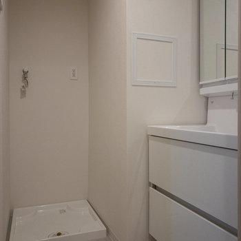 収納力がある独立洗面台です。