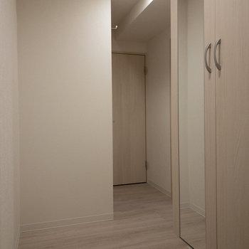 玄関から見て奥がサニタリー、左手前がトイレ、右に居室があります。