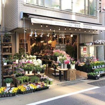 【おまけ】商店街には可愛らしいお花屋さんが。テラスに彩りを加えたくなります。